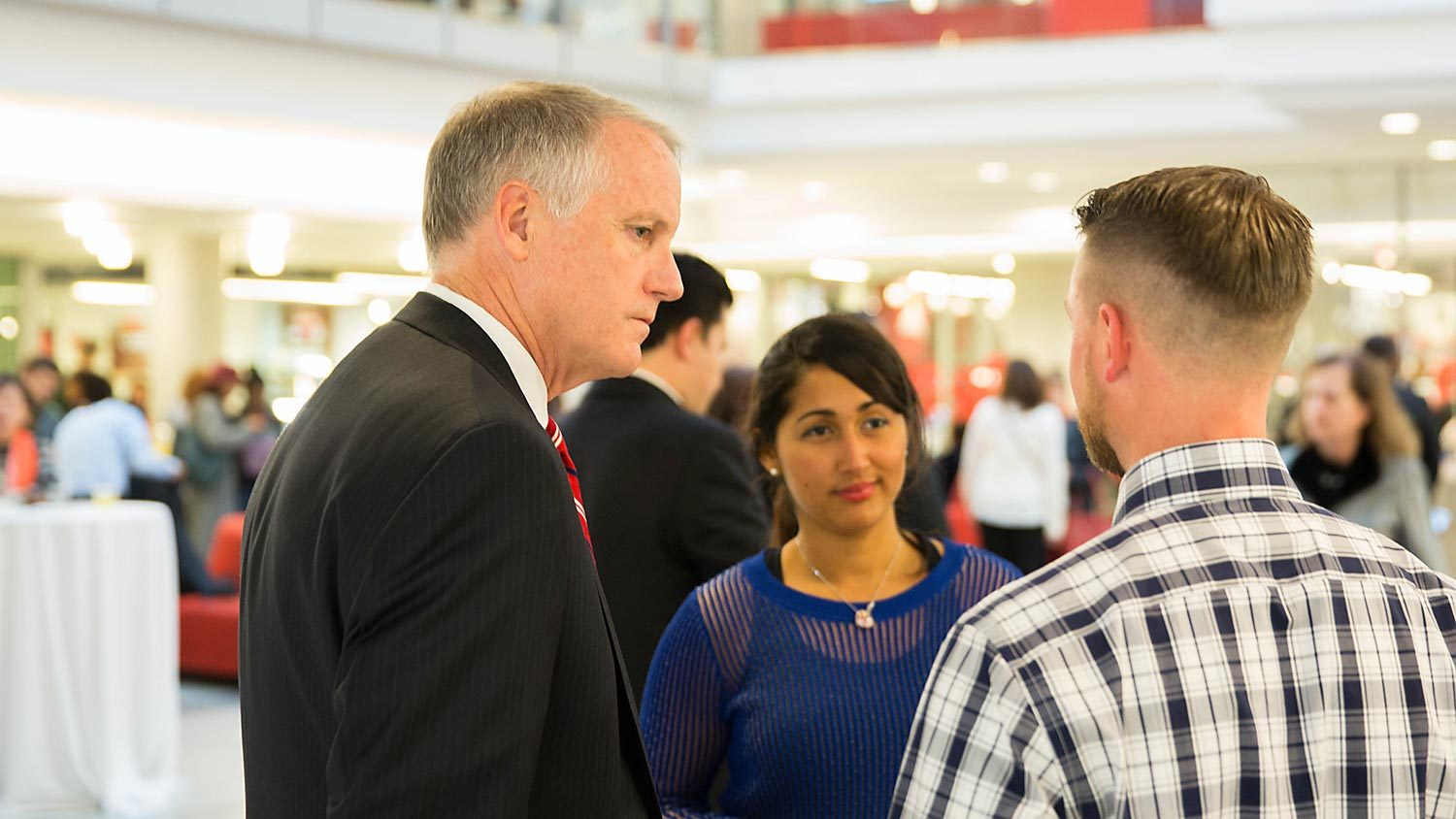 NC State administrator talks with students