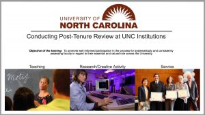UNC System informational flyer on conducting post-tenure review at UNC institutions