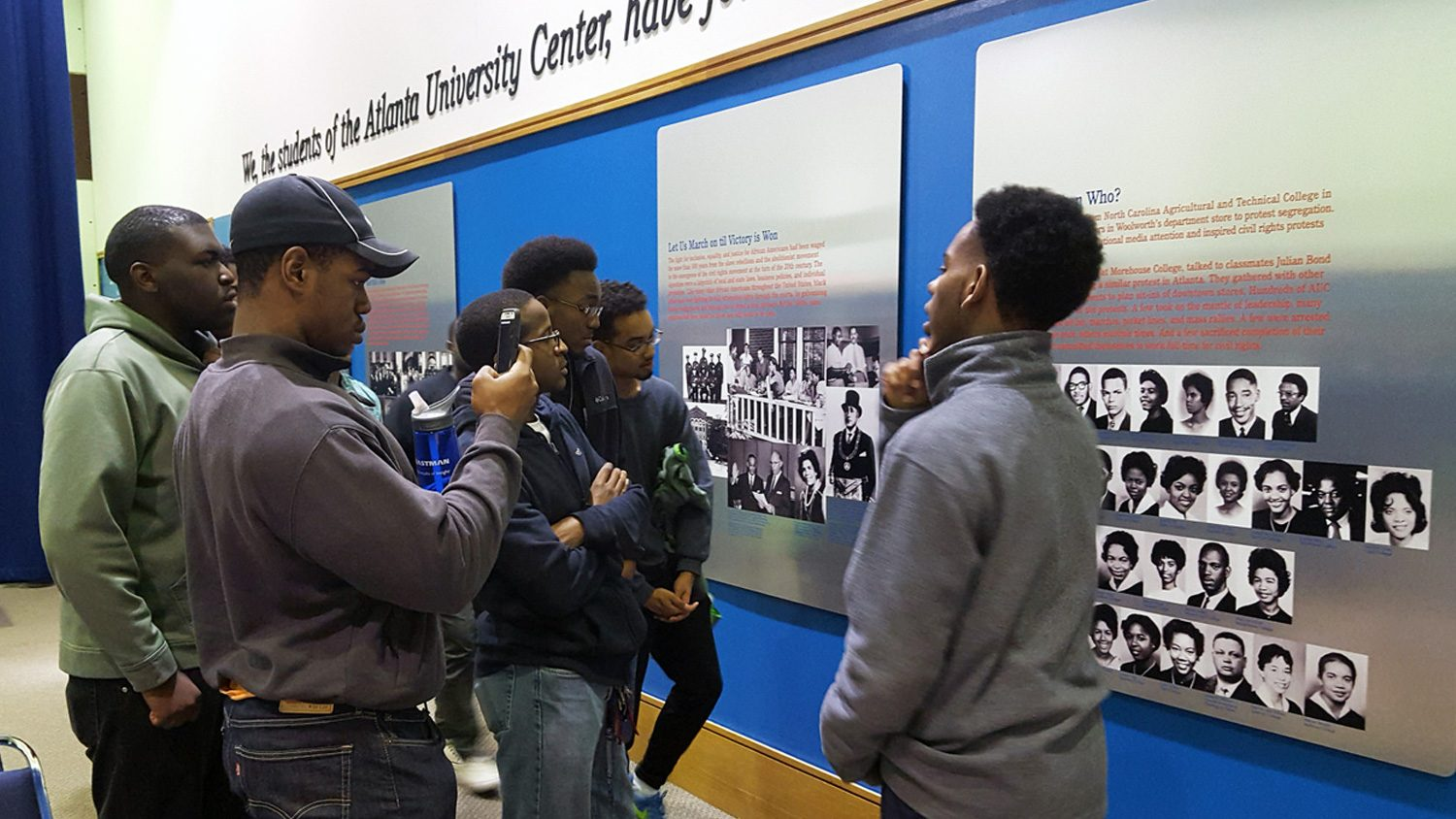 Black Male Initiative students at a museum