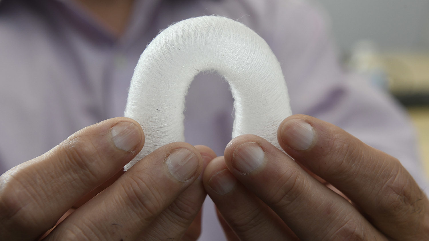 A 3D printed aorta created using the device is flexed to show the unique properties and structure of the fiber printed output.