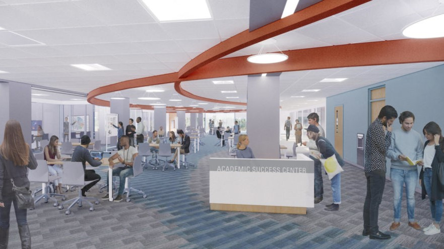 Rendering of new Academic Success Center in D.H. Hill Jr. Library.