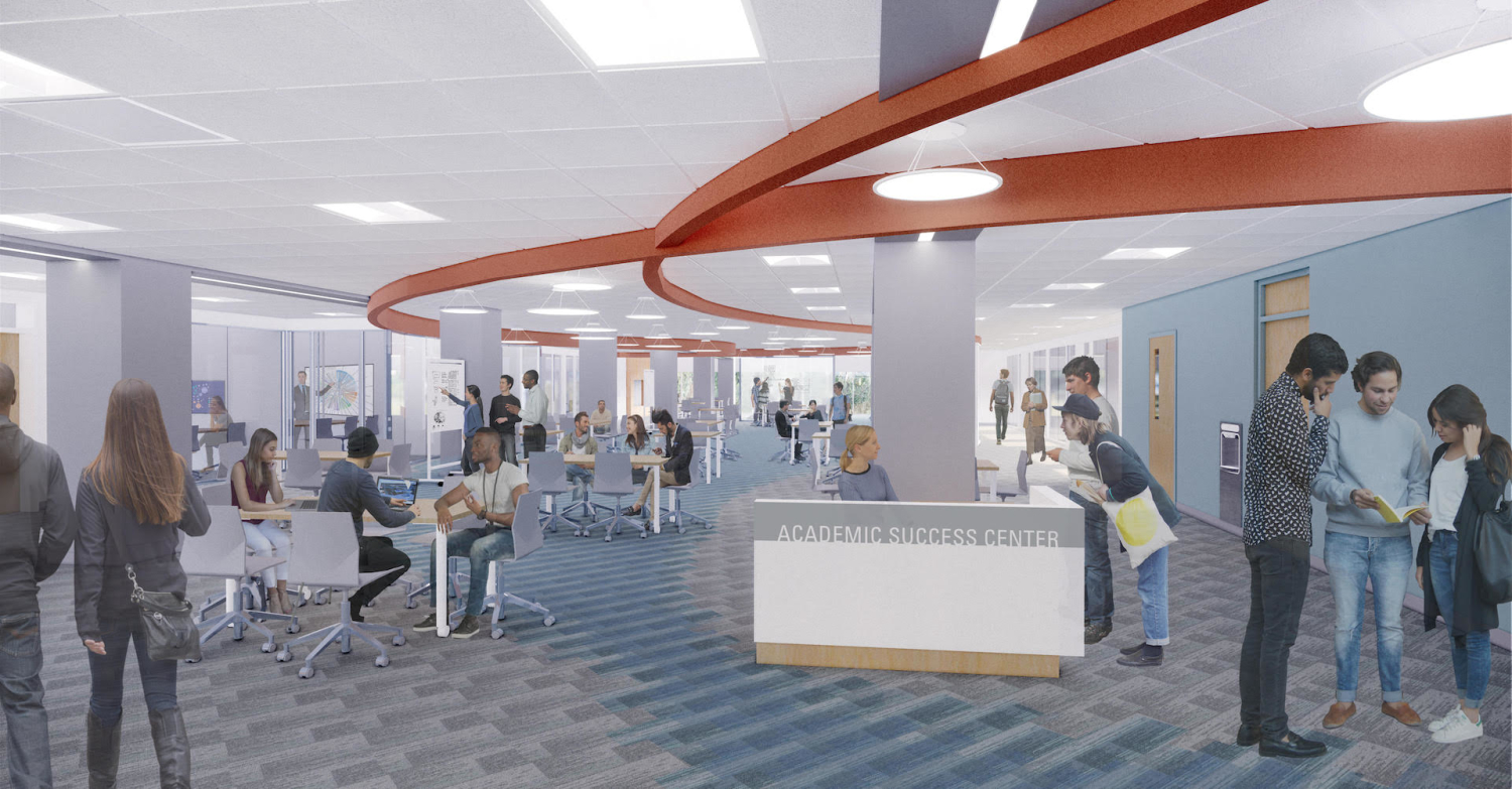 A rendering of the inside of the new Academic Success Center