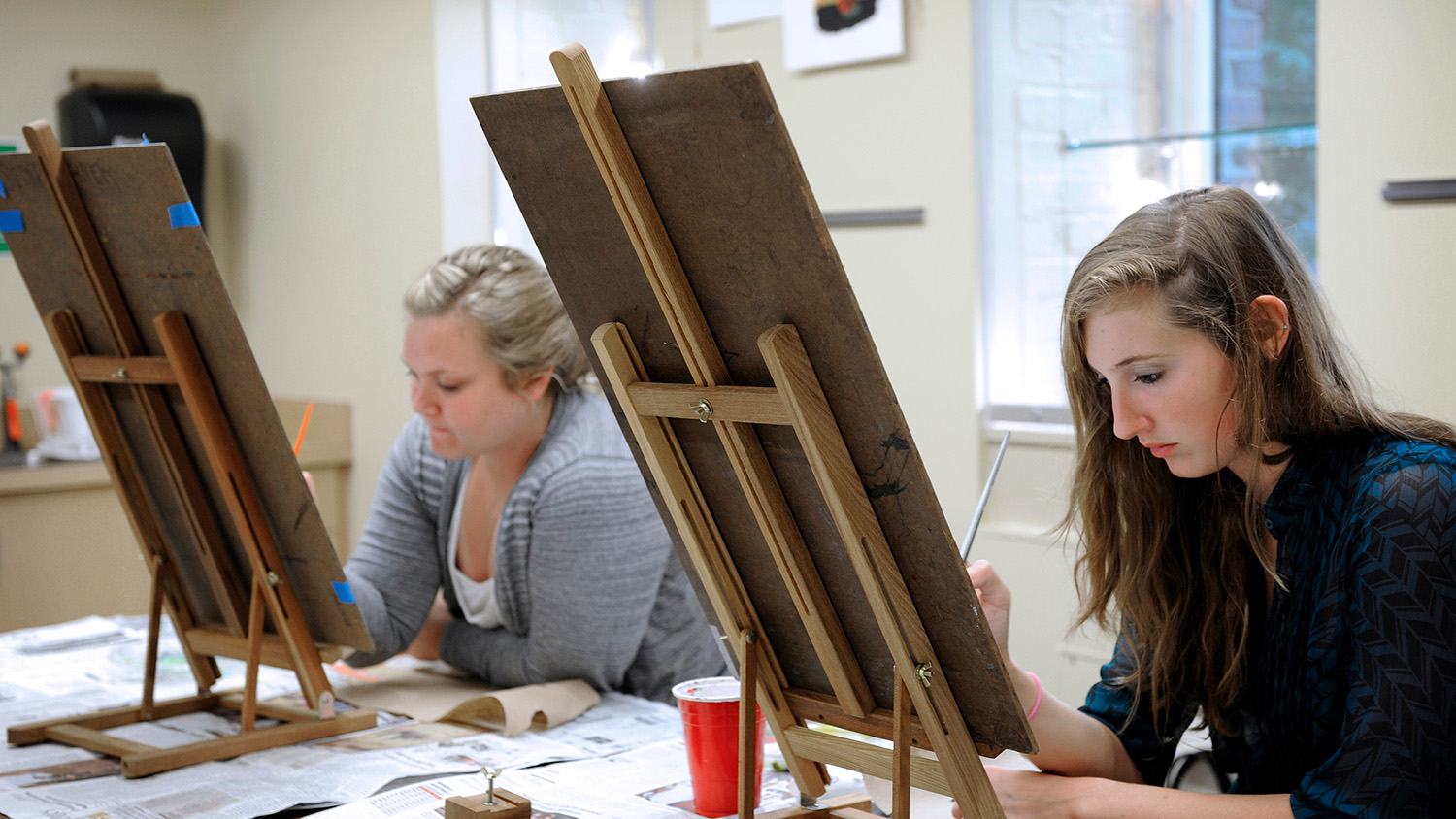 students at an easel