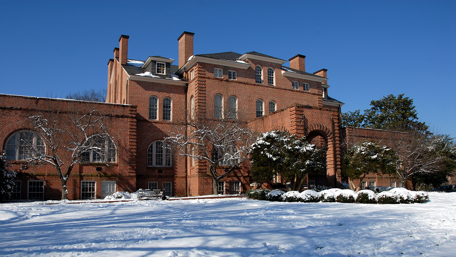 Holladay Hall on a snowy day