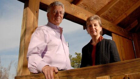 College of Design's Robin Moore and Nilda Cosco in a treehouse